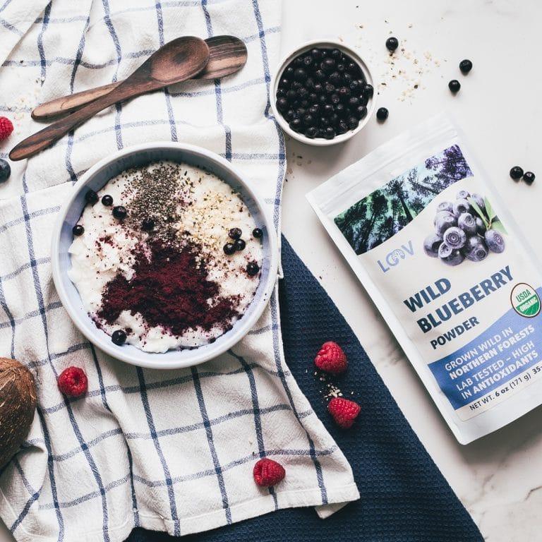 yogurt with LOOV blueberry powder
