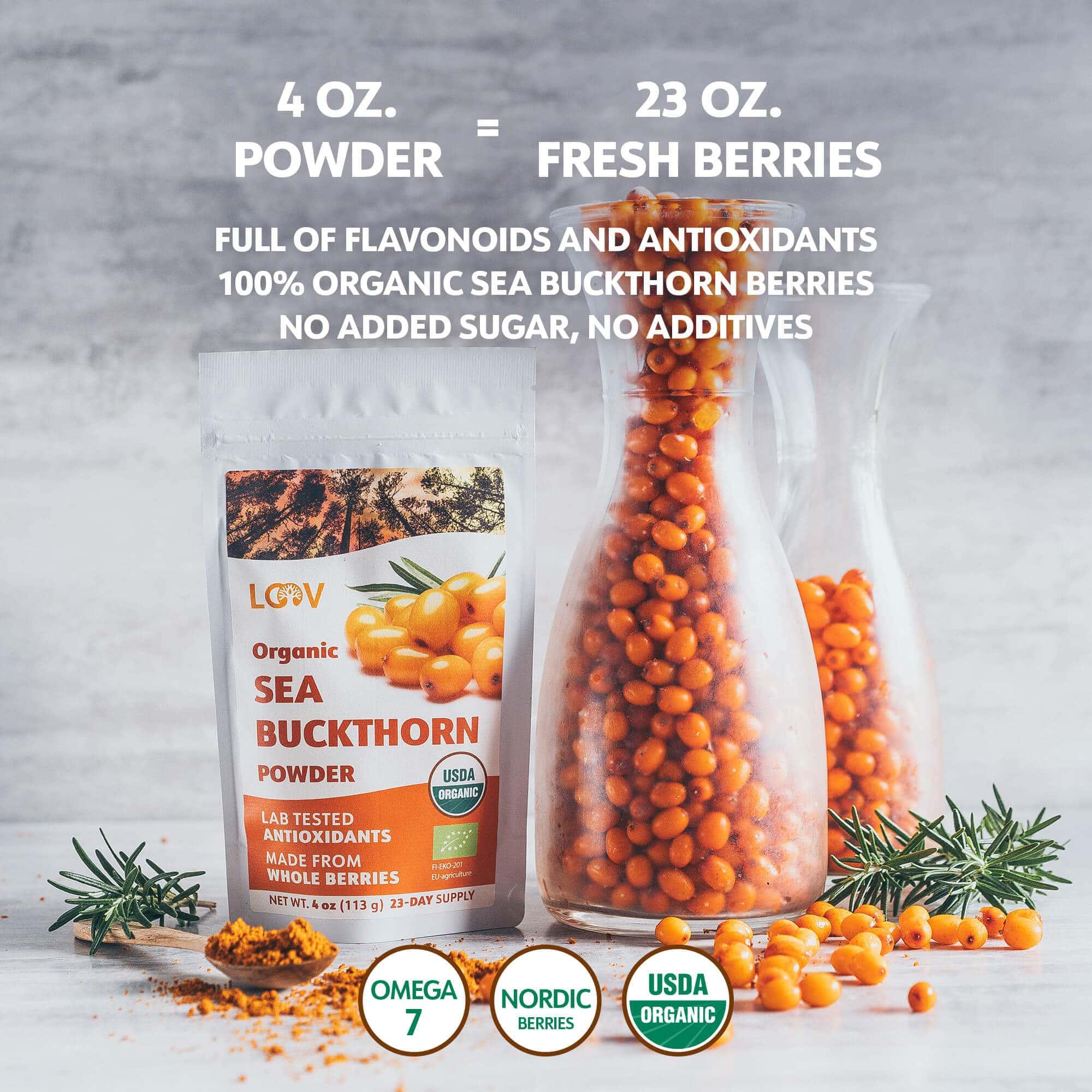 LOOV Organic fresh sea buckthorn powder comparison