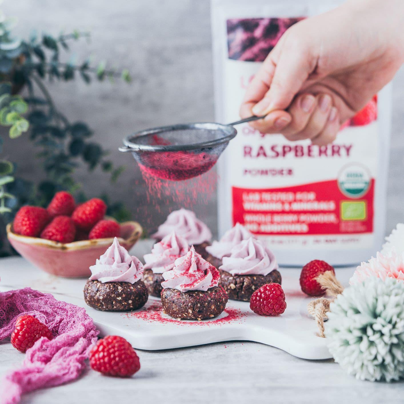 Raw Vegan Raspberry cookies with whipped coconut cream