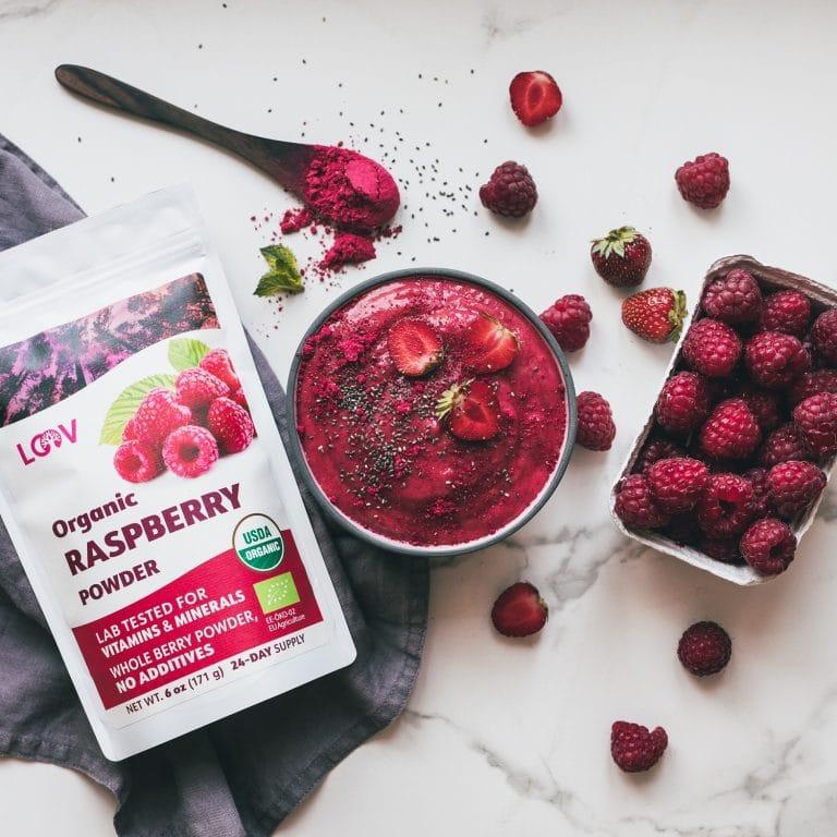 Organic raspberries freeze-dried